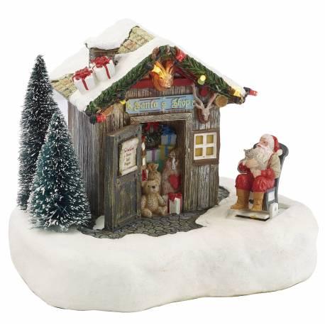Magnifique Mobile à Remonter Décoration de Noël Animée et Musicale Maison du Père Noël en Résine 12x13,5x16,5cm