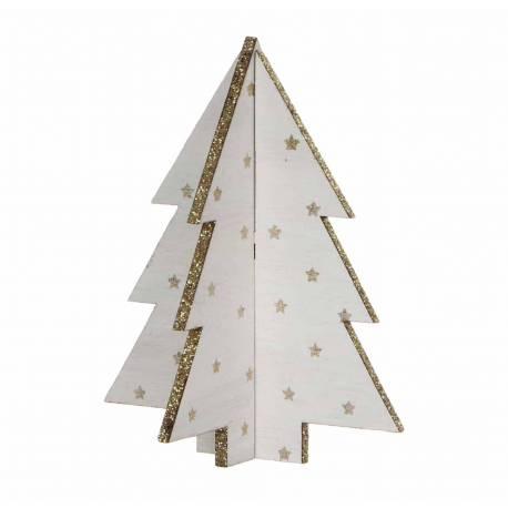 Bel Arbre de Noel Déco Magnifique Sapin Article de Décoration à Poser en Bois Blanchi Décoré d'Etoiles 12x12x15cm