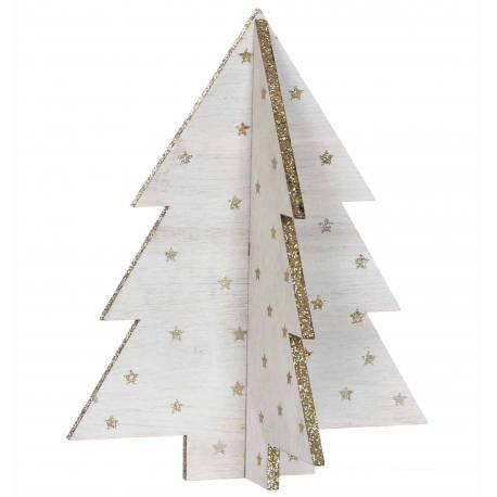 Bel Arbre de Noel Déco Magnifique Sapin Article de Décoration à Poser en Bois Blanchi Décoré d'Etoiles 16x16x20cm
