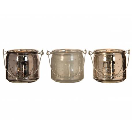 Trio de Portes Bougies Bougeoirs Photophores Pots Décoratifs en Verre et Fer Argenté Blanc et Gris 7x7x13cm