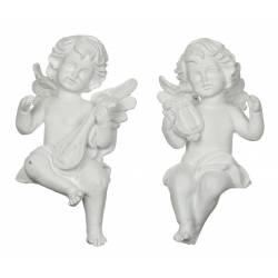 Duo de Statuettes Sculptures Anges Angelots Chérubins Musiciens en Résine Patinée Blanche 7,5x8x15,5cm