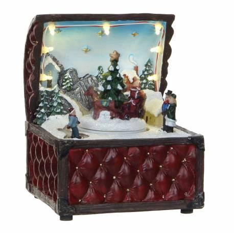 Magnifique Boite à Musique Animée Décoration de Noël Personnages Mobiles en Résine Décorée 11x12x15,5cm