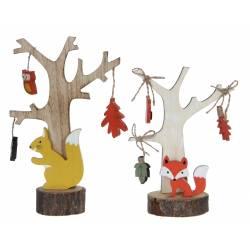 Lot de 2 Décorations de Noël à Poser Déco de Table Sculpture en Bois Motif Ecureuil et Renard 8x15x23cm