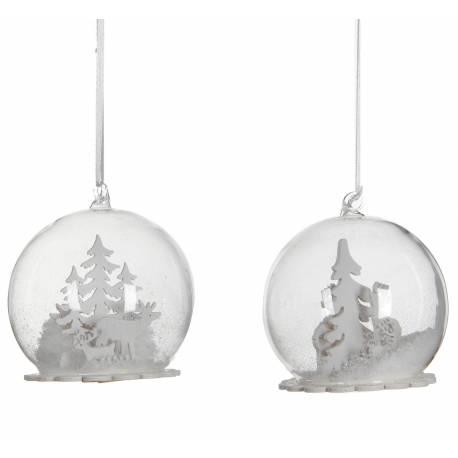Ensemble de 2 Boules de Noël Décoration Sapin Arbre de Noël Globe en Verre Motif Cerfs et Arbres 10x10x10,5cm