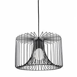 Suspension Luminaire à Suspendre Plafonnier Lampe 1 Ampoule en Métal Noir Satiné 24x36x36cm