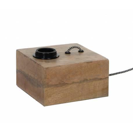 Lampe de Table ou de Chevet Luminaire à Poser Carrée en Manguier 1 Ampoule 10x15,5x15,5cm