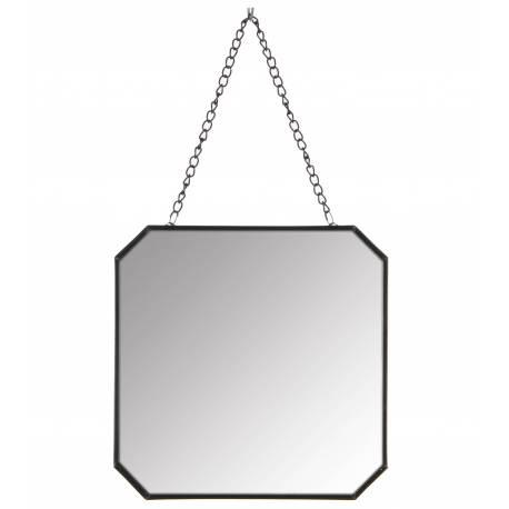 Miroir Mural Glace de Forme Carrée Trumeau en Fer Patiné Noir avec Anse Chaînette 19x19x32cm