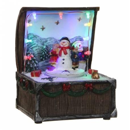Magnifique Boite à Musique Décoration de Noël Animée Personnages Mobiles en Résine Décorée 11x12x15,5cm