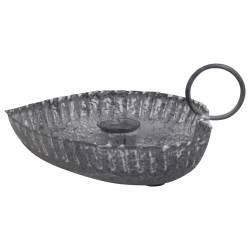 Bougeoir de Table à Poser Porte Bougie Chandelier sur Coupelle Forme Coeur en Fer Patiné Gris 6,5x13x14,5cm