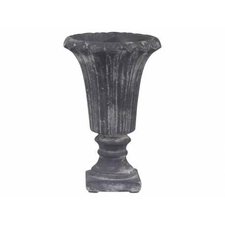 Grand Vase Soliflore Vasque Style Richelieu pour Fleur Plante Buis en Terre  Cuite Patinée Grise 12x12x18,5cm