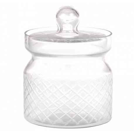 Bonbonnière ou Bocal Cylindrique en Verre Strié Pot à Coton Récipient Pot à Dragées Fonctionnel 13x13x16,5cm