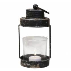 Lanterne à Poser ou à Suspendre Lampion pour Bougie en Fer Patiné Noir Antique avec Verrine en Verre 9x9x22,5cm
