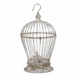 Cage Décorative Style Bougeoir ou porte Plantes à Suspendre à Poser Ronde en Fer Patiné Beige Antique 26x26x51cm