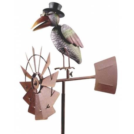 girouette piquer avec d cor corbeaux color eolienne tuteur mobile la force du vent fer. Black Bedroom Furniture Sets. Home Design Ideas