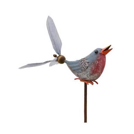 Mobile Eolienne de Forme Oiseau Tuteur de Jardin ou Plante en Fer Patiné Coloré 10x16x66cm