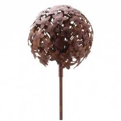 Fleur d'Allium sur Tige Décoration Florale pour Jardin Massif ou Pot de Fleur en Métal Patiné Marron 20x20x116cm