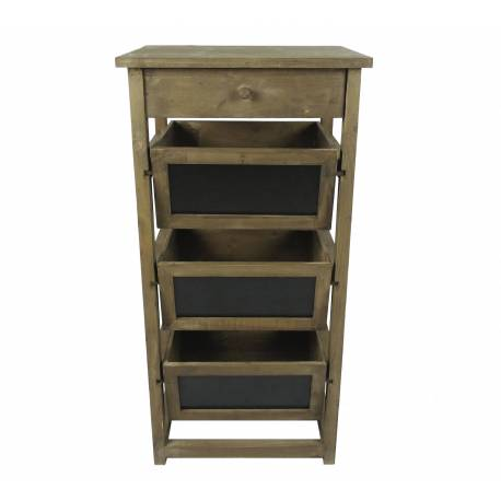 Semainier colonne 1 tiroir 3 casier ardoise en bois for Colonne de rangement avec tiroir