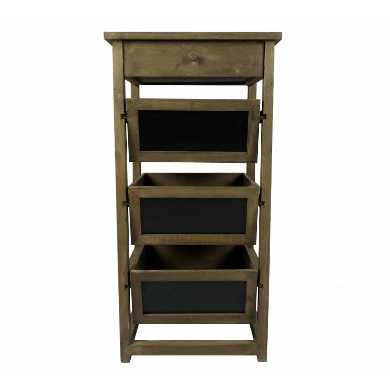 semainier colonne 1 tiroir 3 casier ardoise en bois console d 39 appoint meuble de rangement. Black Bedroom Furniture Sets. Home Design Ideas