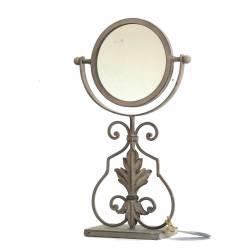 Miroir Psyché sur Pied Glace Orientable de Salle de Bain ou Chambre en Fer Gris 13x22x37cm