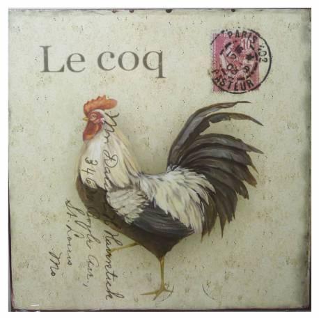 Plaque Publicitaire Décorative Coq Thème Carte Postale pour Cuisine en Fer 0,2x25x25cm