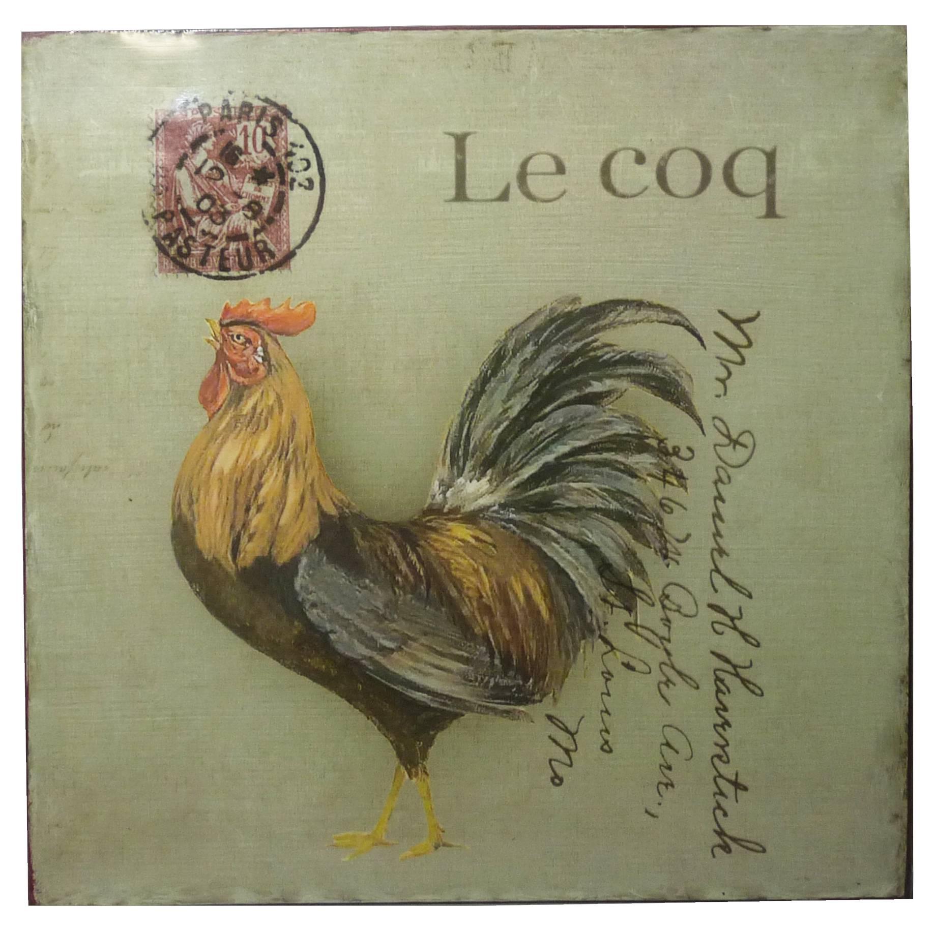 Plaque Publicitaire Décorative Coq Thème Carte Postale Pour