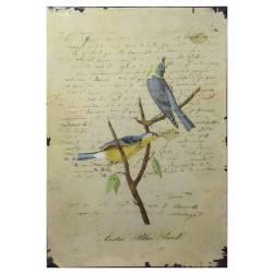 Plaque Décorative Murale à Poser Affiches Publicitaires à l'Ancienne Motif Oiseau sur Fond de Lettre 0,2x19x27cm