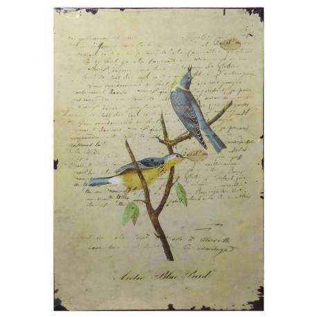 Plaque Décorative Murale à Poser Inspiration Affiches Publicitaires à l'Ancienne Motif Oiseau sur Fond de Lettre 0,2x19x27cm
