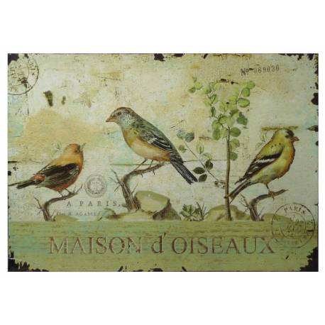 Plaque Décorative Murale à Poser Inspiration Affiche Publicitaire à l'Ancienne Motif Oiseau sur Fond Postale 0,2x19x27cm