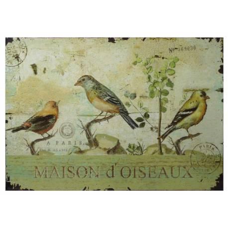 Plaque Décorative Murale à Poser Inspiration Affiches Publicitaires à l'Ancienne Motif Oiseau sur Fond Postale 0,2x19x27cm