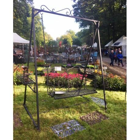 Balancelle de Charme Balançoire pour Adultes et Enfants Mobilier de Jardin en Fer 136x227x260cm