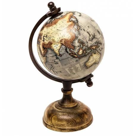 Jolie Mappemonde Globe Terrestre Décoratif Rotatif Planisphère sur Pied Carte Ronde 13x13x25cm