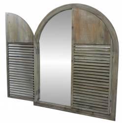 Grand Cadre de Miroir Pêle Mêle Mural Style Ancienne Fenêtre à Volets Persiennes en Bois 4x59x75cm