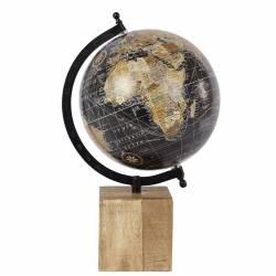 Grande Mappemonde Globe Terrestre Décoratif Rotatif Planisphère sur Pied Carré Carte Ronde 21x21x36cm