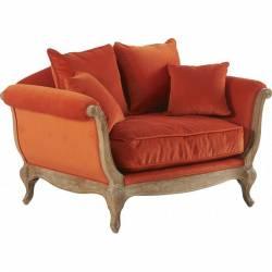 Canapé Pompadour Marque Hanjel Fauteuil 2 Places Style Classique en Hêtre Ciré et Tissu Velours Orange Brulé 92,5x94x134,5cm