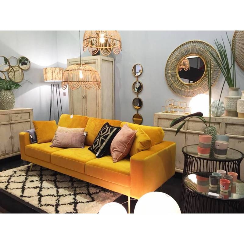canap hambourg marque hanjel 3 places look r tro fauteuil banquette en velours jaune moutarde. Black Bedroom Furniture Sets. Home Design Ideas