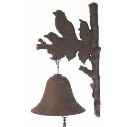 Cloche ou Applique Carillon Murale avec Crédence Motifs Oiseaux en Fonte Patinée Marron 12x16x28cm