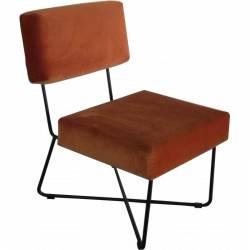 Fauteuil Kaline Orange Brûlé Marque Hanjel Chaise Siège de Salon Style Rétro en Fer Noir et Velours à Motifs 55x68x76cm