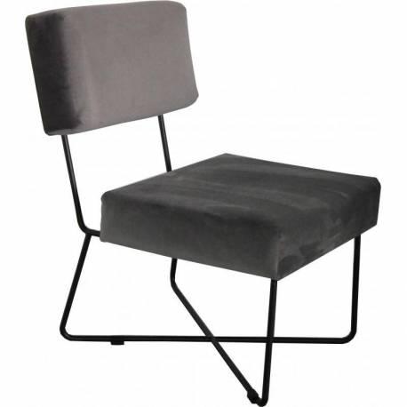 Fauteuil Kaline Taupe Marque Hanjel Chaise Siège de Salon Style Rétro en Fer Noir et Velours Teinte Unie 55x68x76cm