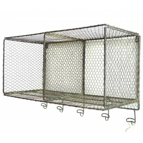 Étagère Grillagée Façon Cage à Poules 5 Crochets ou Panier à Épices Mural 5 Patères en Fer Patiné Gris 30x41x62cm