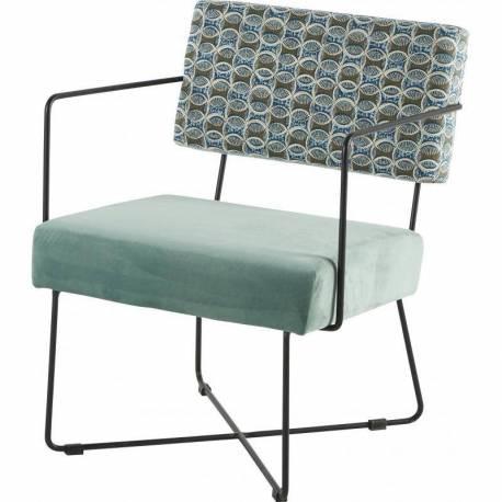 fauteuil kaline bras africa vert de gris chaise si ge salon art d co accoudoirs en fer noir et. Black Bedroom Furniture Sets. Home Design Ideas