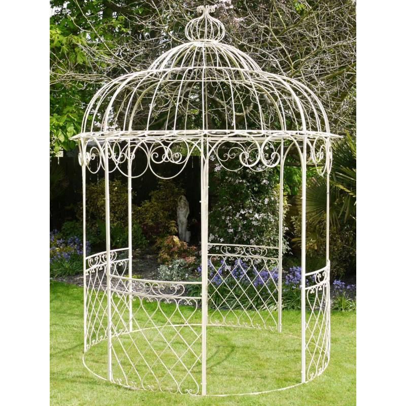 jolie tonnelle kiosque de jardin pergola abris rond gloriette de charme en fer forg blanc. Black Bedroom Furniture Sets. Home Design Ideas
