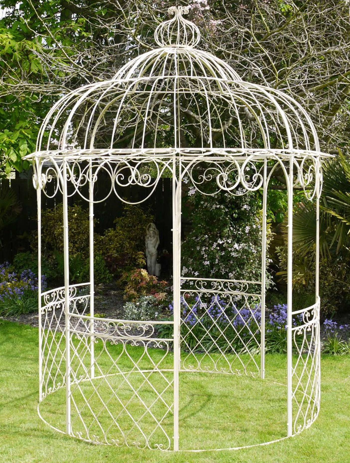 Jolie Tonnelle Kiosque de Jardin Pergola Abris Rond Gloriette de Charme en  Fer Forgé 250x250x355cm