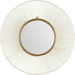 Superbe Miroir Aurore Marque Athezza Glace Ronde Forme Soleil en Métal Doré 2x73x73cm