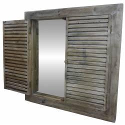 Miroir Géant Grande Glace Murale Style Ancienne Fenêtre à Volets Persiennes Carré en Bois 4x80x80cm