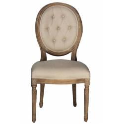 Chaise Versailles Cap Ferret Marque Hanjel Siège Médaillon en Bouleau et Tissu de Coton Lin 50x58x100cm