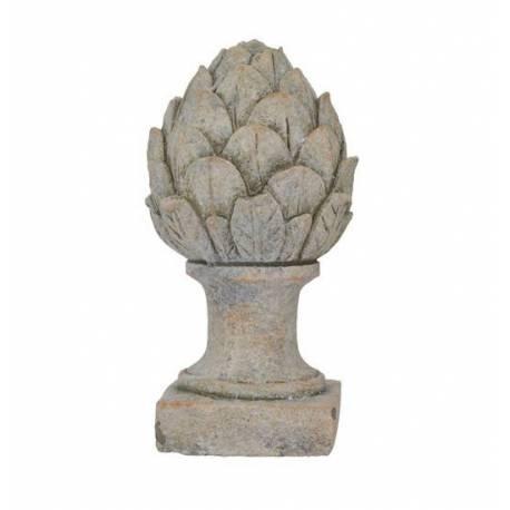 Pomme de Pin Obélisque Epis de Faîtage Artichaut Fleur Décoratif en Terre Cuite Ton Pierre 12,50x12,50x24cm