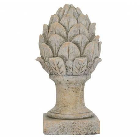 Grande Pomme de Pin Obélisque Epis de Faîtage Artichaut Fleur Décoratif en Terre Cuite Ton Pierre 14x14x28cm