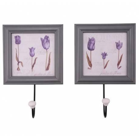 Lot de 2 Patères Crochets Portemanteaux Portes Serviettes avec Tableau Cadre Photos en Bois Fer Porcelaine 1,5x15x24cm