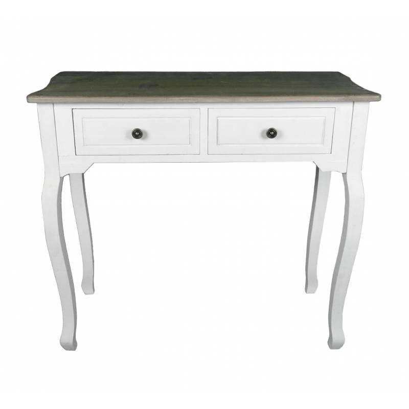 Meuble d 39 entr e console de rangement mobilier d 39 appoint avec tiroirs en bois patin blanc - Meuble de rangement entree ...