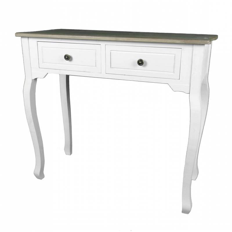 Meuble d 39 entr e console de rangement mobilier d 39 appoint avec tiroirs en bois patin blanc - Meuble patine blanc ...